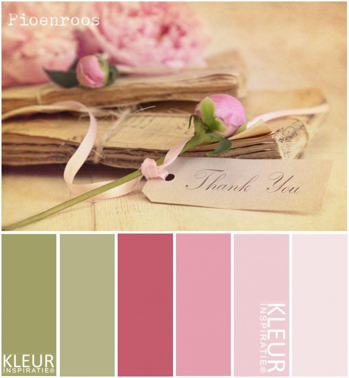 PIOENROZEN - Kleurenpalet pastel roze. Zacht roze pioenrozen op stapeltje oude papieren.