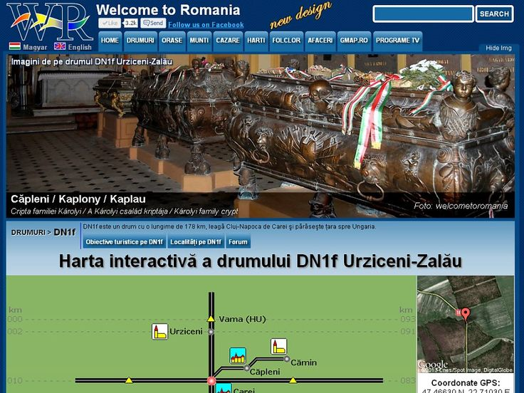 Road DN1F Urziceni- Zalău 93 km, passing through the cities, Carei, Tăşnad and Zalau with all the sights that you can see if you travel on this road http://www.welcometoromania.ro/DN1f_Urziceni_Zalau/DN1f_Urziceni_Zalau_Harta_Obiective_e.htm
