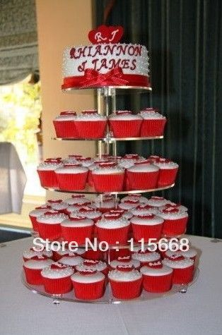 5 Tier Transparent Maypole Acrylic Cup Cake Stand Display $29.00
