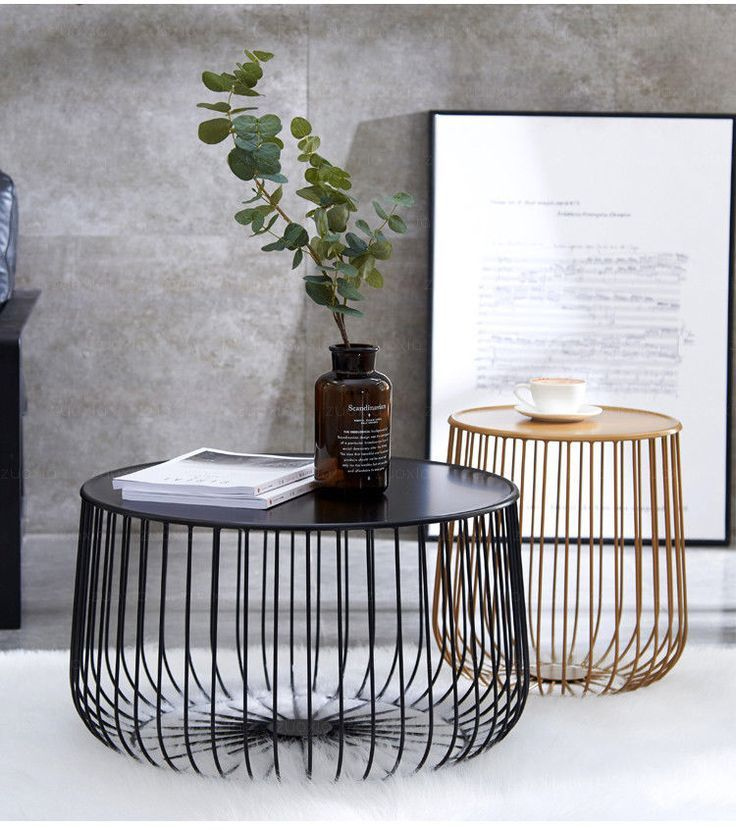 New Modern Black Gold Round Industrial Steel Wire Coffee Table Side End Table Wohnzimmer Modern Beistelltische Eisenmobel