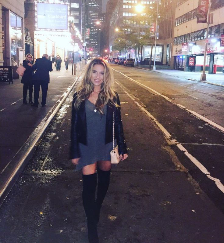 Jessie James Decker Grey Sweater, Leather Jacket, and Knee High Boots