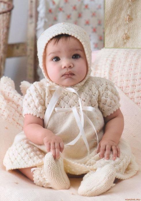 Beyaz örgü bebek elbise | Örgü Modelleri - Örgü Dantel Modelleri