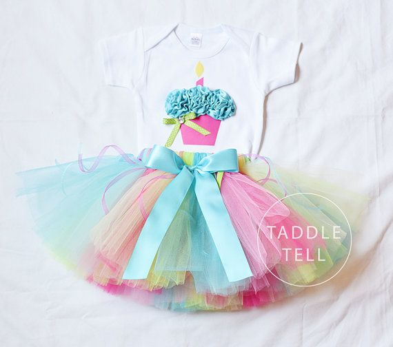 SWEET TART Birthday Girl Set - 3D Cupcake Onesie and Tutu Skirt - 1st 2nd 3rd 4th 5th Birthday