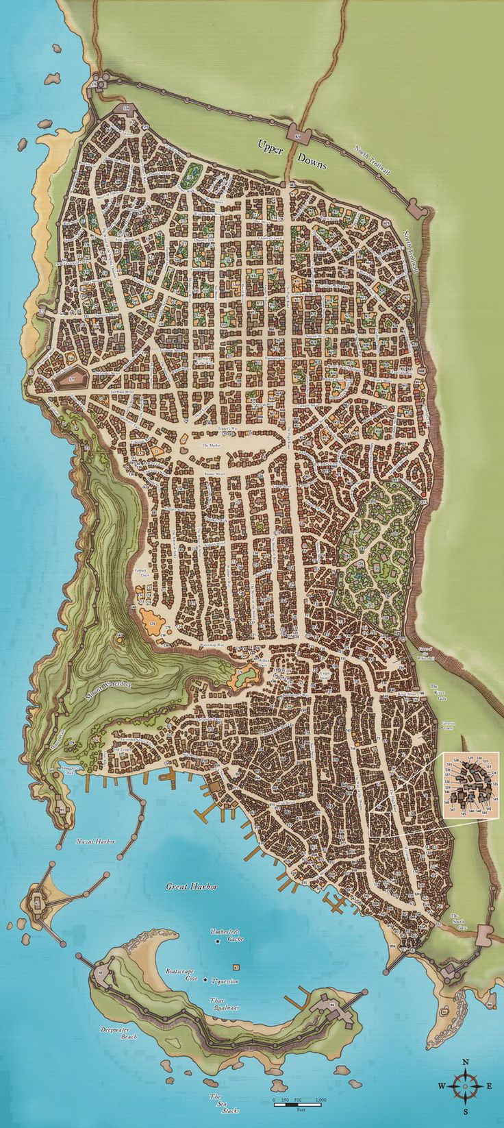 """Waterdeep, also known as the City of Splendors or the Crown of the North, was the most important and influential city in the North and perhaps in all Faerûn. For this reason it was considered part of the Western Heartlands of the Realms, even though it lay 150 miles north of Daggerford on the shores of the Sword Coast. The city sat """"slightly above the 45 degree north latitude line on Toril."""" The road to Waterdeep was well paved and well patrolled. The city was the hub of trading from the..."""