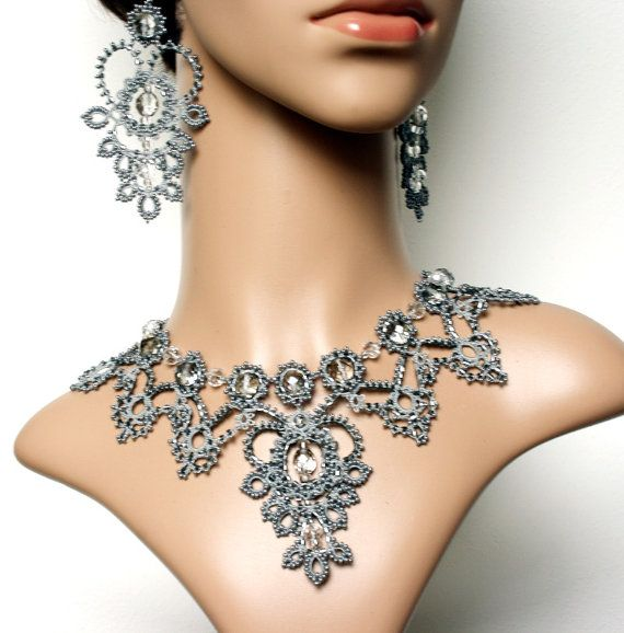 FROST Wedding Lace Necklace Earrings Tatted Filigree Bead Embroidery Set by DASH Art Studio