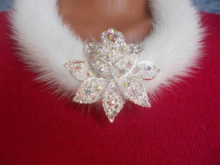 мех норки, цветы, зимние аксессуары, натуральный мех, ожерелье