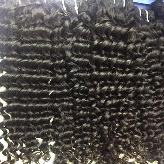 Cambodian Deep Wave Sew IN Natural Black Human Hair Weft 4 Bundle Deals Raw Original Hair