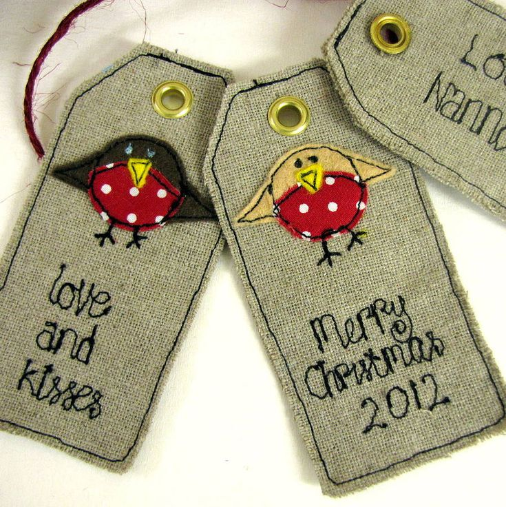 Fabric Tags cute birds!                                                                                                                                                      More