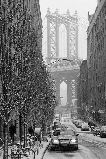 Snowing in Brooklyn, NYC: