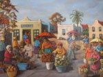 A beautiful market scene by the south african artist Bea Wolfaardt http://thedoddsgallery.co.za/artists/Bea%20Wolfaardt.html
