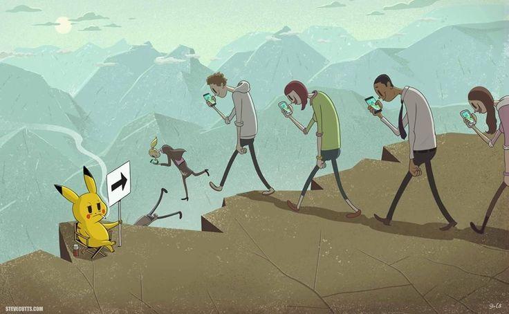 Méchant Pikachu ou con d'humain ? Application Pokemon Go Encore un effet mode pour faire comme les autres. IN ou OUT ? Un moule, les gens en redemandent pour y rentrer et oublier les massacres, tueries, et la morosité économo-politique. Un peu de joie...