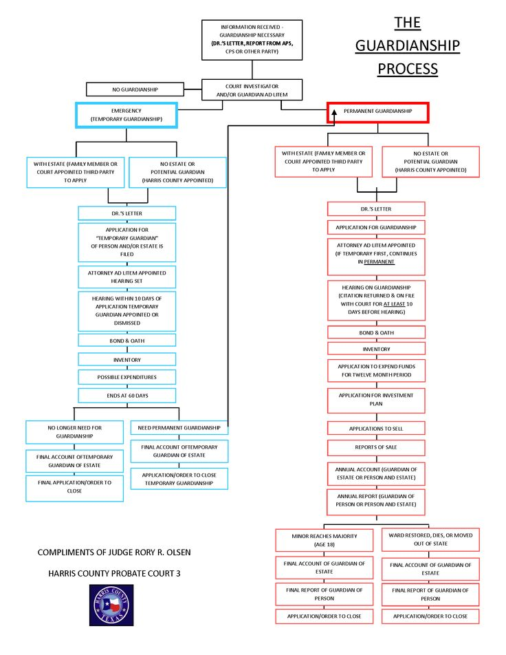 A map of how the Guardianship process works in Harris County, Tx.