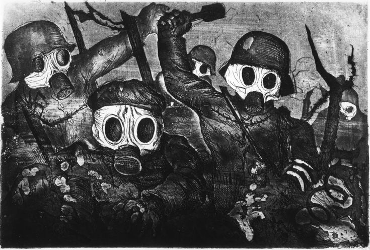 Stormtroops Advancing underGas 1924 etching. Otto Dix was a satiric, anti-war German painter and print maker. His depictions of mechanized warfare and post-war Berlin continue to shape our impressions of the Great War. His series of etchings remains one of the most powerful indictments of war ever conceived.