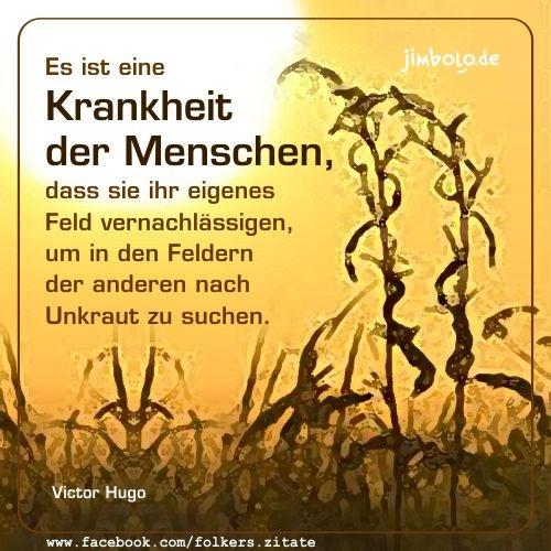 Es ist eine Krankheit der Menschen, dass sie ihr eigenes Feld vernachlässigen, um in den Feldern der anderen nach Unkraut zu suchen. (Victor Hugo)