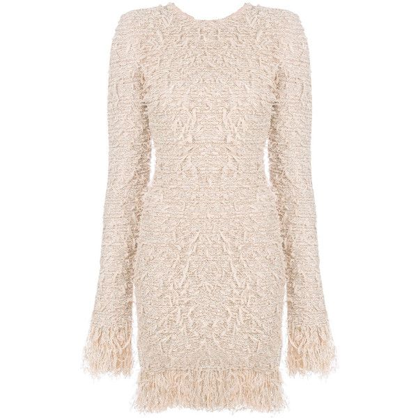 Balmain frayed fitted dress ($1,995) ❤ liked on Polyvore featuring dresses, long sleeve fitted dress, pink long sleeve dress, nude dress, round neck dress and tight long sleeve dress