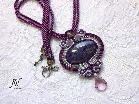Charoite soutache Pendant by AnnetaValious on Etsy, $145.00