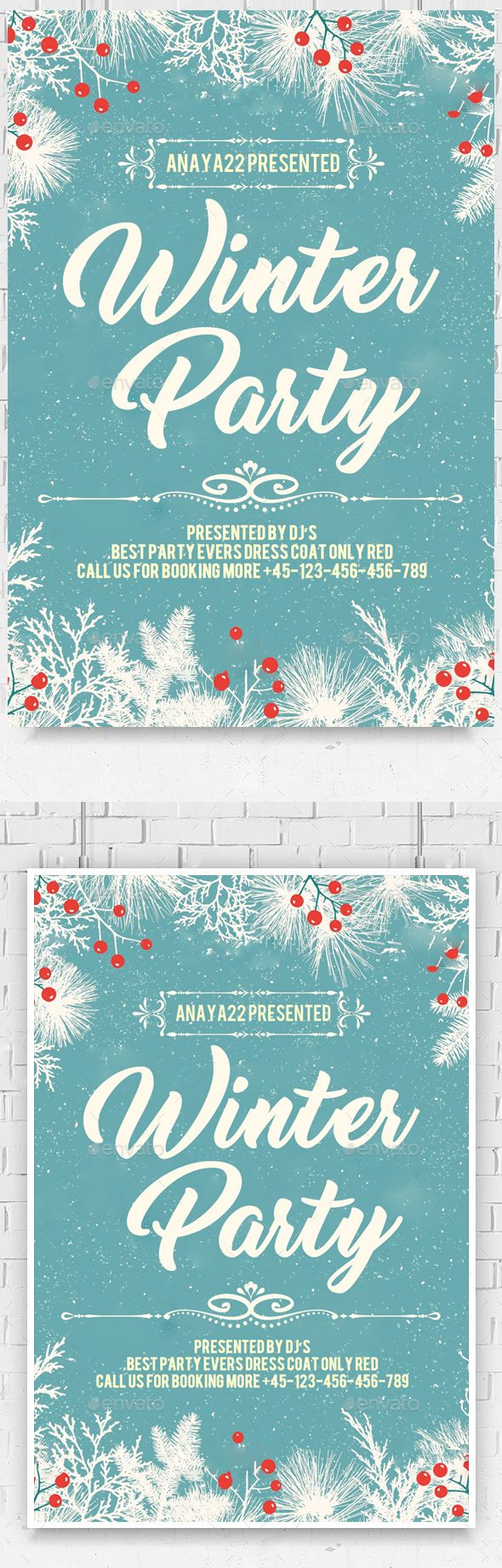 Winter Party Flyer Template PSD