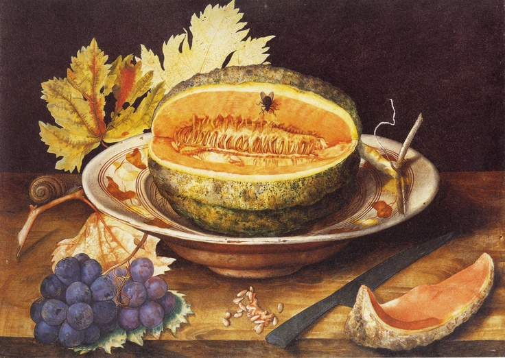 Giovanna Garzoni, Melon in a dish w Grapes and a Snail (Florence)