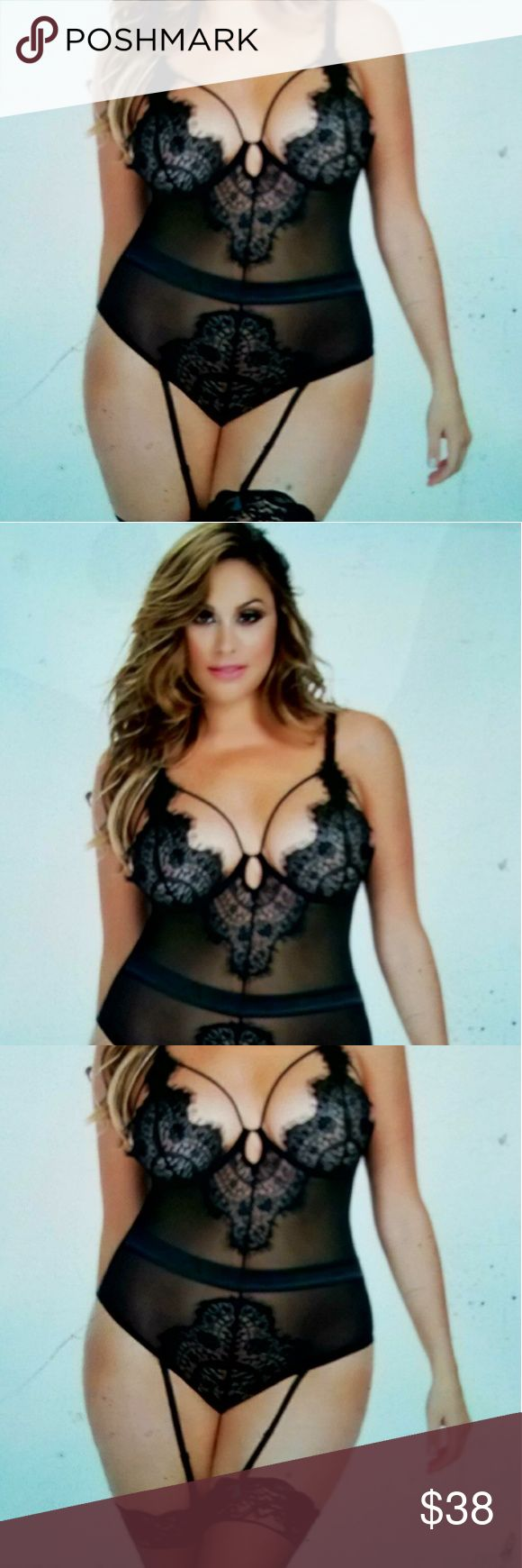 Plus-sized lingerie Sheer mesh caged eyelash lace teddy SEXY FITS SIZES 18/20 Intimates & Sleepwear