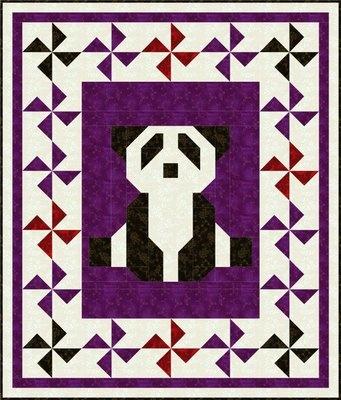 Panda quilt design with pinwheels