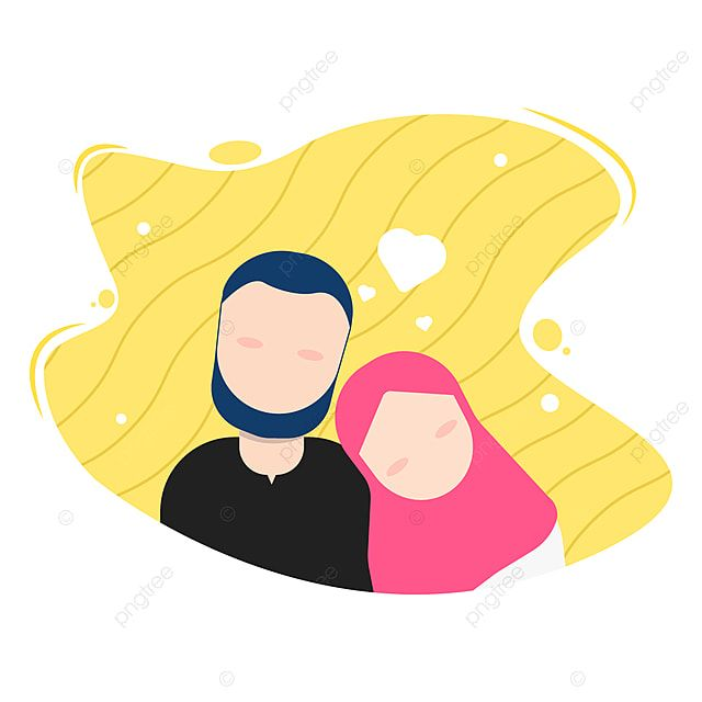 Illustration Of Romantic Islamic Muslim Couple Falling In Person Clipart Hijab Young Png And Vector With Transparent Background For Free Download Pernikahan Romantis Ilustrasi Desain Vektor