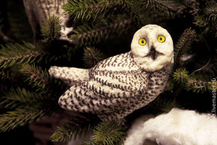 Купить Полярная сова ёлочная игрушка из ваты - белый, сова, Новый Год, елочные игрушки