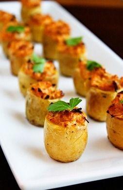 PATATITAS ASADAS RELLENAS DE ALCACHOFA (Artichoke Stuffed Baked Potato Bites) #RecetasConPatatas #RecetasConAlcachofas #CocinarConConservas