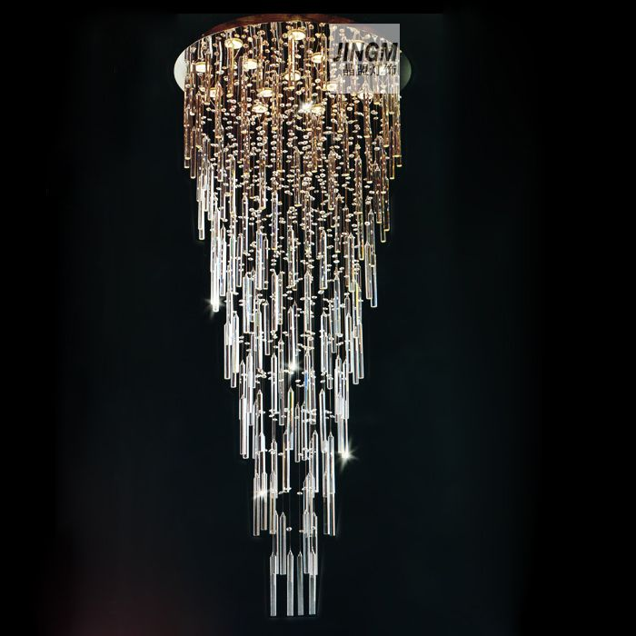 Crystal lamp living room lamp crystal League stairs penthouse floor lamp crystal chandelier crystal lamp chandeliers hanging wir