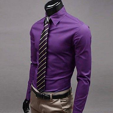 de los hombres de talla grande sólido púrpura / vino / camisa rosa, adelgazamiento de trabajo de manga larga cuello de la camisa 2015 – $373.81