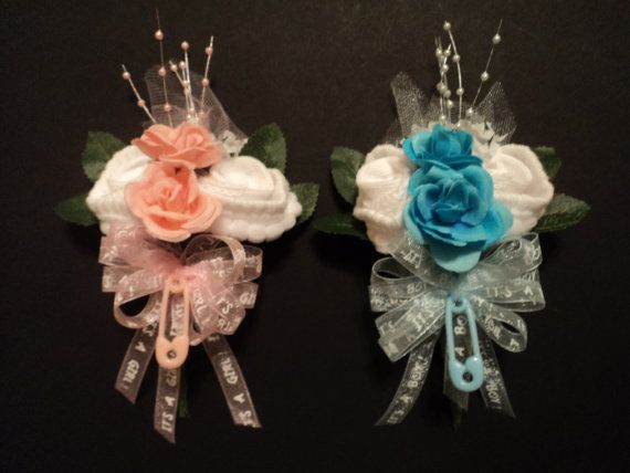 Baby Sock Rose Corsage Baby Shower Gift It's A Boy or Girl Ribbon on Etsy, $10.99