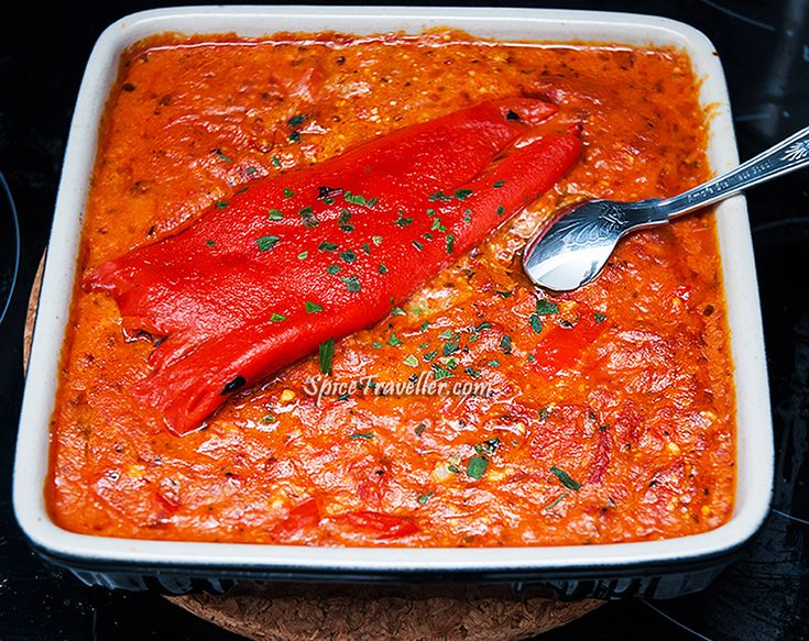 Albanian Fergese. Albanian pepper sauce with cheese. Click for recipe. (V)