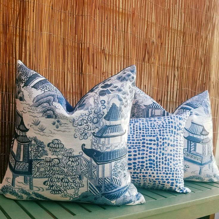Blue and white cushions with oriental pattern + matching blue and beige polka-dot cushion
