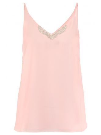 Pink Chiffon Diamante Trim Strap Vest - Quiz Clothing