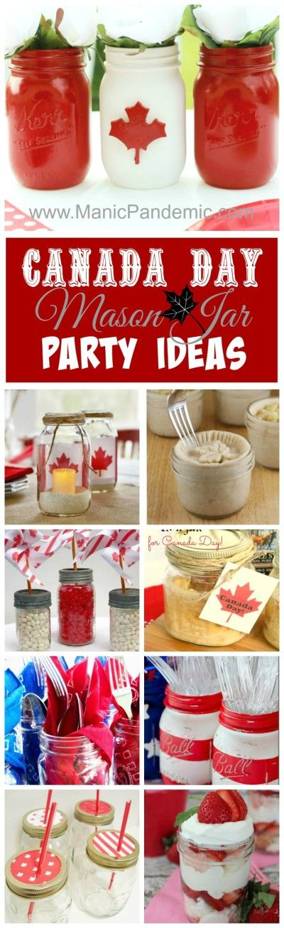 It's almost Canada Day!  Show your patriotic side with some cute party decor ideas.  Don't worry you probably already have the jars in your pantry or basement.