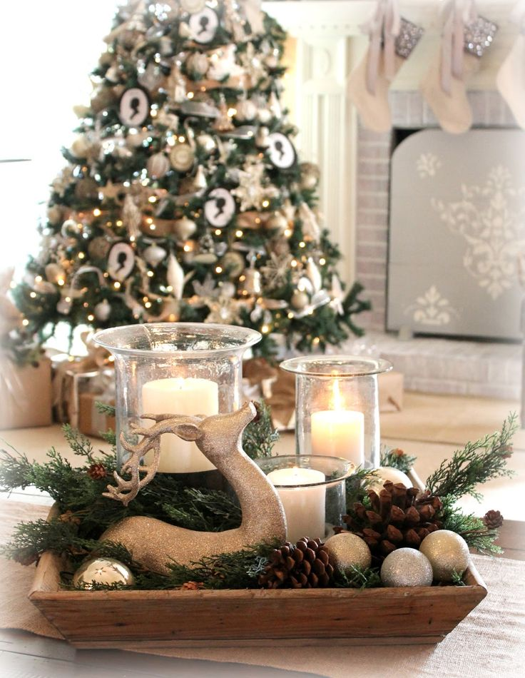 The Fancy Shack: ~A Christmas Tour & Vignettes~thought of this for bedroom fireplace decoration with a size appropriate silver tree with the deer