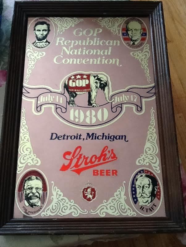 VTG 1980 Republican GOP National Convention Framed Stroh's Beer Mirror-Reagan #StrohBreweryCompany