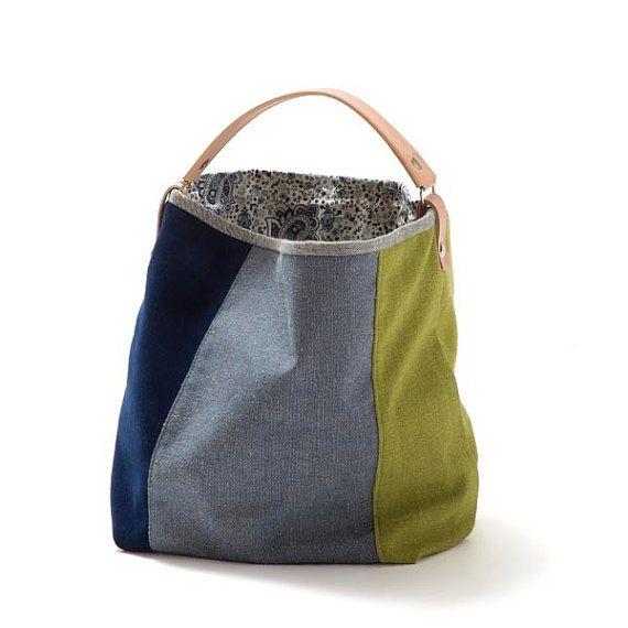 Petit sac de basilic-seau, sac en toile, sac à bandoulière, vert, bleu, jeans, poignée en cuir