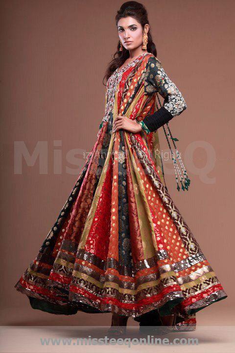 Multi coloured bridal anarkali suit; silk, chiffon, georgette