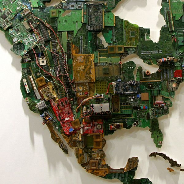 WORLD MAP MADE FROM RECYCLED COMPUTERS