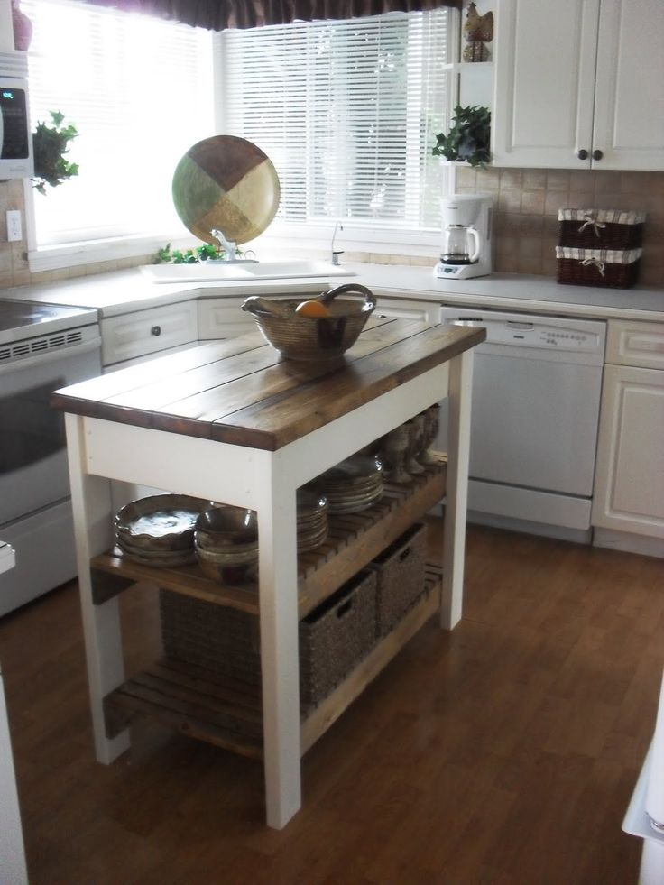 A Kitchen Island.Humm, A Couple Of Crates, Small Kitchen Table And On The  Top . I See A DIY Here.