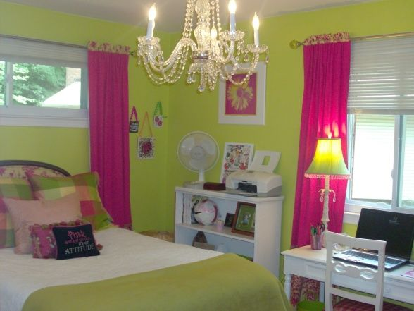 exciting teen girl bedroom green | Cute Green and pink room or what!? I love this idea but ...