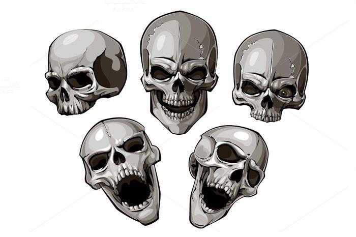 Vector skulls set by Vecster on Creative Market