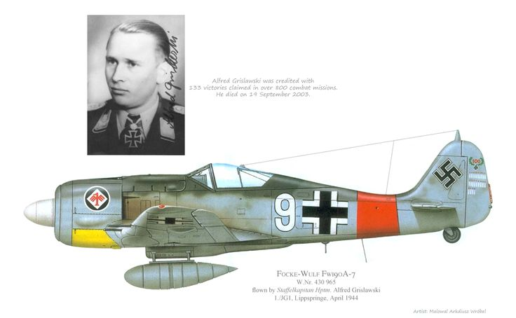 JG1 1st Staffel Fw190A-7 flown by Alfred Grislawski, April 1944