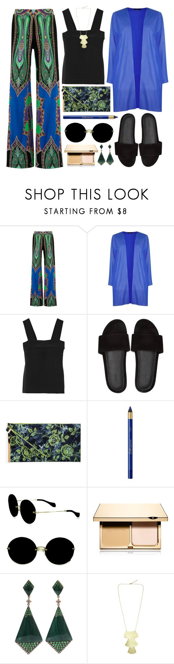 """""""humidity"""" by foundlostme ❤ liked on Polyvore featuring Etro, Boohoo, Joseph, Ashley Stewart, L'Oréal Paris, Miu Miu, Clarins, Wendy Yue and TropicalVacation"""