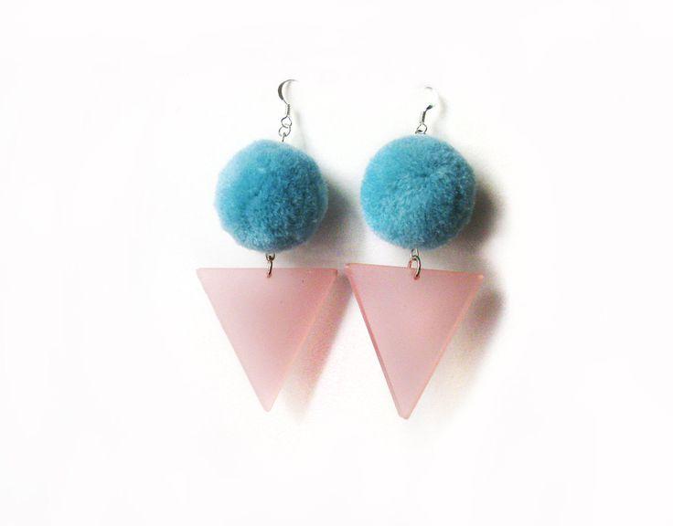 Pom Pom Earrings, Teal Pom Earrings, Baby Pink Acrylic Triangle Earrings, Party Earrings, Fluffy Earrings, Lazer Cut Jewelry, Fancy Earrings by petiteutile on Etsy