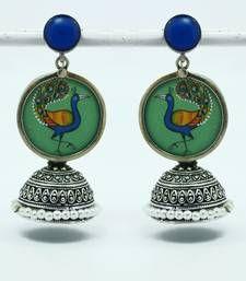 Buy miniature peacock jhumki-GREEN jhumka online
