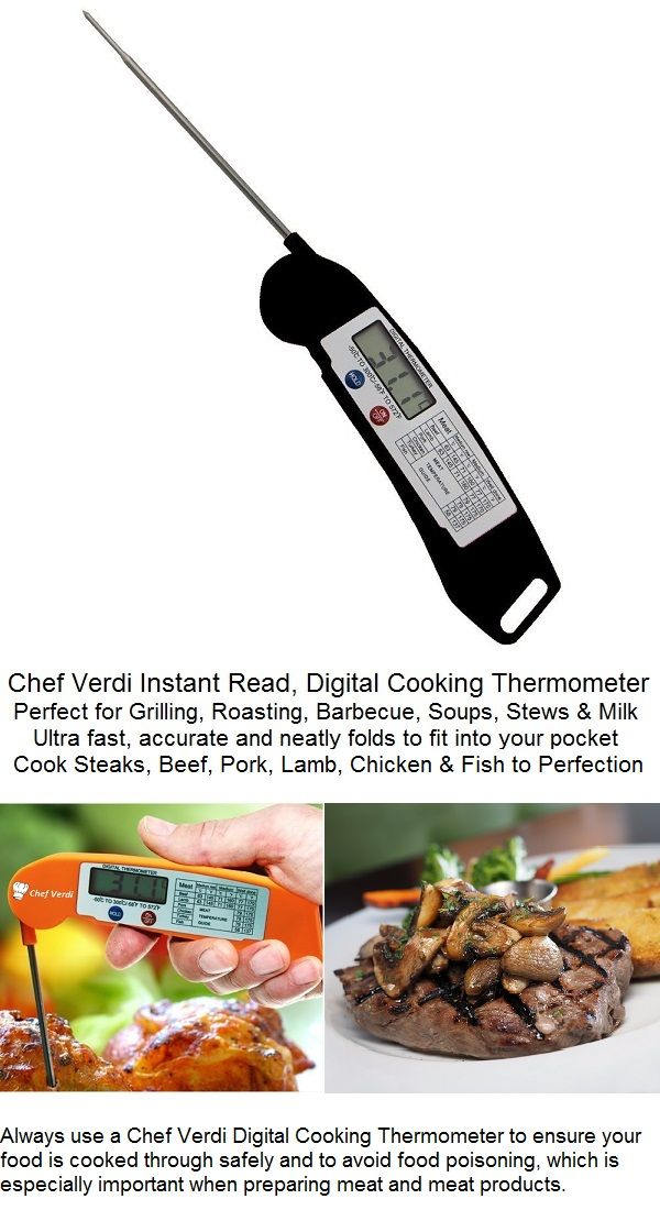 Chef Verdi ultra-fast instant read digital cooking thermometer for Meat, Grill, BBQ Grill, Chilli, Soup, & Drinks. Accurately reads temperatures from -58 F to 572 F (-50 C to 300 C). Folding stainless steel probe and auto switch-off if unused for 10 minutes.  Available in Black: https://www.amazon.com/dp/B01AVJWV10  or in Orange: https://www.amazon.com/dp/B01EF2ULHU