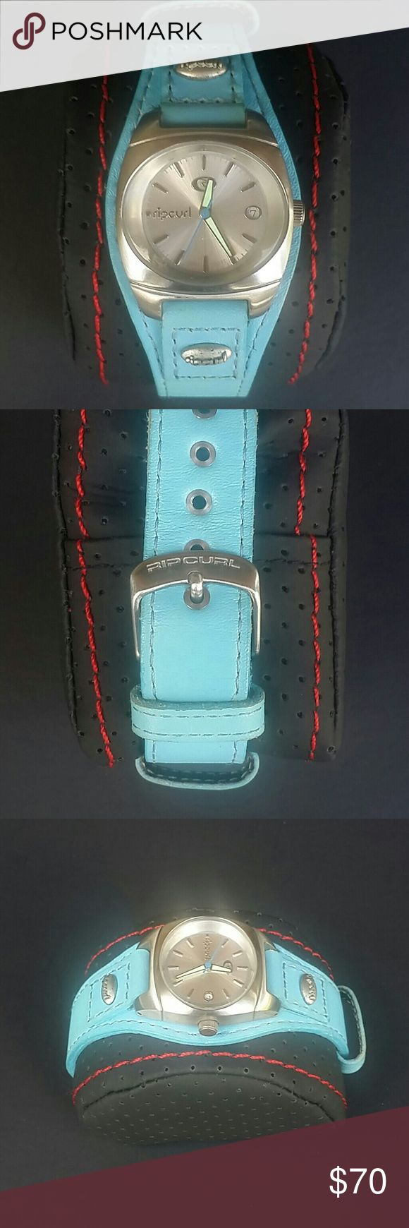 Ripcurl Womens Blue Leather Band Surfer Watch Ripcurl Womens Blue Leather Band Surfer Watch Excellent Condition Ripcurl Accessories Watches
