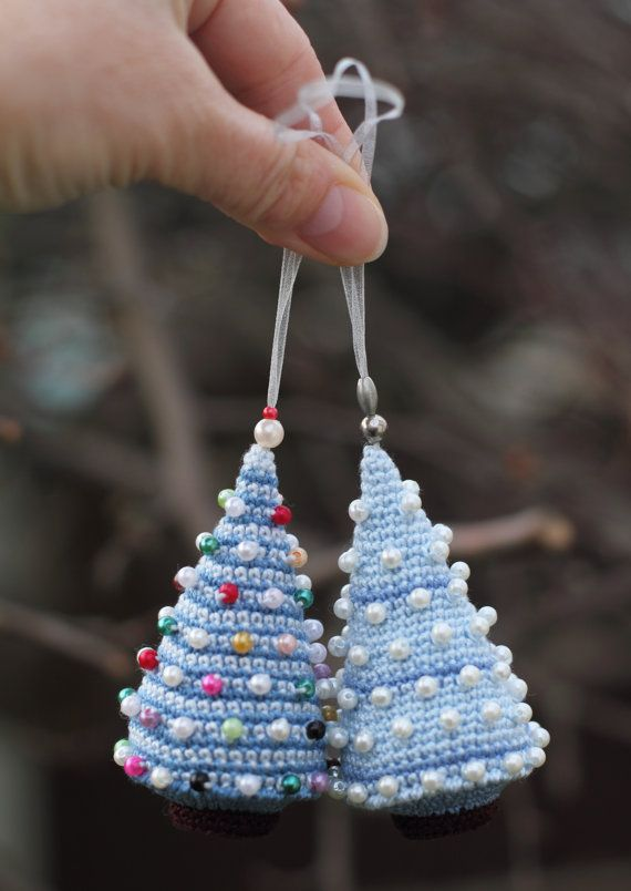 Crocheted Christmas Tree with bead baubles