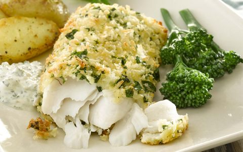 Crispy Baked Hake with Yogurt Tartar Sauce
